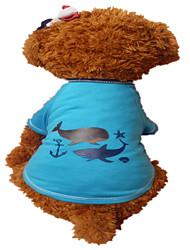 Cani T-shirt Verde / Blu Abbigliamento per cani Estate Fantasia animale Di tendenza