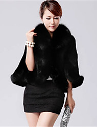 cheap -Women's Plus Size / Daily / Party/Cocktail Casual Fur CoatSolid Shawl Lapel  Length Sleeve Fall /