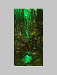 cheap -E-HOME® Stretched LED Canvas Print Art The Tree House LED Flashing Optical Fiber Print One Pcs