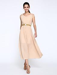Damen Chiffon / Swing Kleid-Party/Cocktail Einfach / Boho Solide V-Ausschnitt Maxi Kurzarm Beige / Schwarz Polyester Sommer Hohe Hüfthöhe