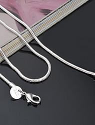b8c1c296499e Mujer Collares de cadena envolver collar Plata de ley Barato damas Clásico  Moda Diario Plata Gargantillas Joyas Para Fiesta Ocasión especial  Cumpleaños ...