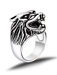 cheap -Men's Band Ring Silver Titanium Steel Wolf Animal Personalized Vintage Party Work Casual Fashion Punk Wedding Party Daily Casual Sports