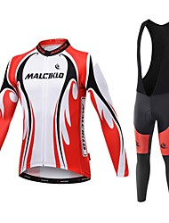 Malciklo Cycling Jersey with Bib Tights Men's Long Sleeves Bike Compression Clothing Tights Clothing Suits Quick Dry Front Zipper