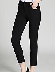 burdully solido nero / marrone chinos pantssimple delle donne