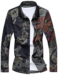 cheap -Men's Casual Slim High Quality Floral Shirt,Cotton / Polyester Long Sleeve Black