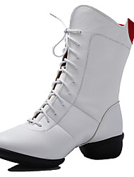 "cheap -Women's Modern Dance Boots Leatherette Boots Split Sole Outdoor Lace-up Low Heel White Black Red 1"" - 1 3/4"" Non Customizable"