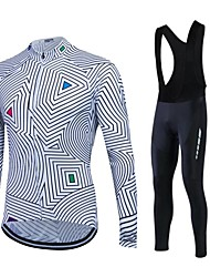 Fastcute Cycling Jersey with Bib Tights Men's Women's Unisex Long Sleeves Bike Tracksuit Fleece Jackets Jersey Tights Bib Tights