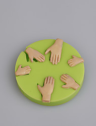 cheap -Wholesale cake decorating tools hand shape silicone molds for fondant cake Color Random