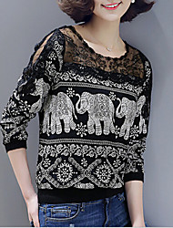 cheap -Women's Animal Print Black T-shirt,Round Neck Long Sleeve