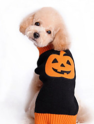 Dog Sweater Dog Clothes Cute Holiday Halloween Pumpkin Black