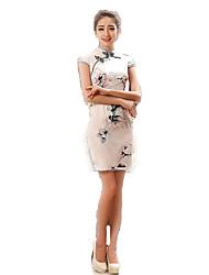 cheap -One-Piece Short Sleeve Medium Length Ink Blue Lolita Dress Polyester