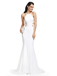 cheap -Mermaid / Trumpet Spaghetti Straps Court Train Jersey Prom Formal Evening Dress with Sash / Ribbon by TS Couture®