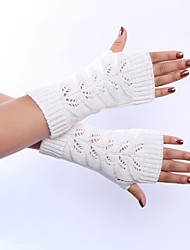 cheap -Women's Winter Wool Knitting Twist Hollow Out Solid Color Gloves