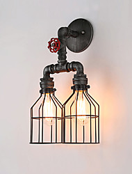 cheap -Loft vintage wall sconce lamp restaurant cafe corridor bar Iron Cage wall lamp industry Iron pipe lighting