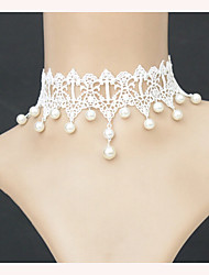 cheap -New Fashion Elegant Vintage Imitation Pearl White Lace Chokers Necklaces Bridal Wedding Jewelry For Women