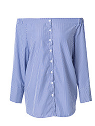 cheap -Women's Fine Stripe Work Casual ShirtSolid Shirt Collar Long Sleeve Blue / White Cotton Thin