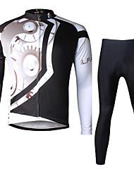 baratos -ILPALADINO Homens Manga Longa Calça com Camisa para Ciclismo - Preto Moto Conjuntos de Roupas, Tapete 3D, Secagem Rápida, Resistente