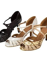 Women's Llatin Dance Shoes Sparkling Glitter Salsa Sandals Heels Black/White/Gold Customizable