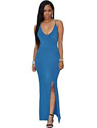 Gaine Robe Femme Soirée Sexy,Couleur Pleine A Bretelles Maxi Sans Manches Bleu / Rouge / Noir Polyester / Spandex Eté Taille Haute