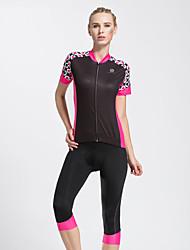 economico -TASDAN Per donna Manica corta Maglia con pantaloncini da ciclismo - Nero Rosa Bicicletta 3/4 Collant/Corsari Maglietta/Maglia Set di
