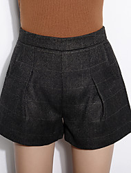 Women's Solid Gray Shorts PantsSimple Winter