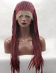 cheap -fashion long straight braids synthetic lace front wig glueless red color women wigs