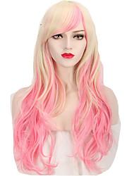 preiswerte -Synthetische Haare Perücken Wellen Karnevalsperücke Halloween Perücke Cosplay Perücke Lang Rosa