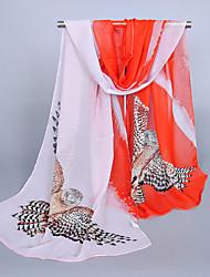 Damer Vintage Sødt Afslappet Rektangulær,Chiffon Alle årstider Trykt mønster Orange Rosa Marineblå