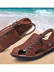 Men's Shoes Cowhide Summer Sandals Lace-up For Outdoor Brown coffee