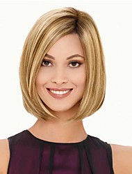 Fashionable Sweet Side Bang Gloden Medium LengthWave Synthetic Hair Wig