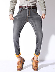 cheap -Men's Solid Casual / Work JeansFaux Fur / Cotton / Polyester / Spandex Blue / Gray MG-Y618