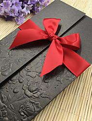 billige -Port Foldning Bryllupsinvitationer-Invitationskort Moderne Stil Mønsterpræget Papir Bånd