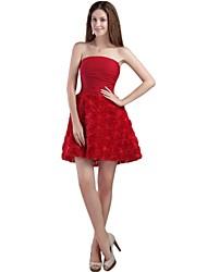 A-Line Strapless Short / Mini Chiffon Bridesmaid Dress with Pleats by XFLS