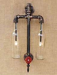 AC 220V-240V 6W e27 bgb007 americano - temático ferro restaurante bar com garrafa de vinho tubo interruptor de água luminária de parede