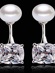 cheap -Women's Drop Earrings AAA Cubic Zirconia Personalized Fashion Adorable Sterling Silver Zircon Round Square Jewelry Wedding Party Daily