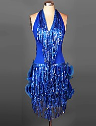 cheap -Latin Dance Dresses&Skirts Women's Performance / Training Spandex Ruched / Sequins / Tassel(s) 1 Piece 6 Colors