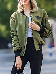 cheap -Women's Going out Cute Jackets,Floral Stand Long Sleeve Fall Black Polyester Medium