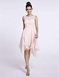 cheap -A-Line Scoop Neck Knee Length Chiffon Bridesmaid Dress with Criss Cross by LAN TING BRIDE®