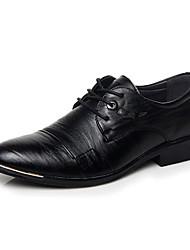 billige -Herrer Oxfords Komfort Læder Efterår Afslappet Gang Snøring Kombination Lav hæl Sort Brun Under 2,5 cm