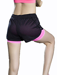 Women's Mesh Elastic Waist Quick Dry Sports Fitness Running Yoga Shorts with Safety Pants
