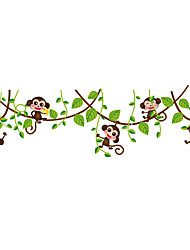 Cute Little Monkey Green Leaves Branches Wall Stickers Funny Animals Wall Decals For Kids Room