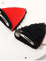 2PCS New Hair Cat Ear Clip BB Stereo Modelling Tire Leopard Hairpin  Color Random