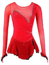 cheap -Figure Skating Dress Women's Girls' Ice Skating Dress Red Spandex Rhinestone High Elasticity Performance Skating Wear Handmade Fashion