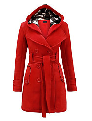 cheap -Women's Chic & Modern Plus Size Trench Coat-Solid Colored,Classic Style
