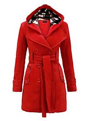economico -Impermeabile Da donna Da tutti i giorni Moderno Inverno,Tinta unita Con cappuccio Lanetta Lungo Maniche lunghe