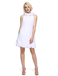 Tubinho Gola Alta Curto / Mini Chiffon Coquetel Reunião de Classe Baile de Fim de Ano Vestido com Flor(es) de TS Couture®