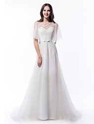 cheap -LAN TING BRIDE A-line Wedding Dress Beautiful Back Court Train Scoop Tulle with Bow Beading Button