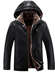 Men's Daily Simple Casual Winter Coat,Solid Hooded Long Sleeve Regular Faux Fur Fur Trim
