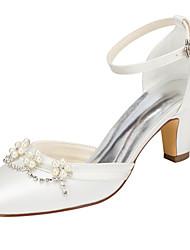 abordables -Femme Chaussures Satin Elastique Printemps / Automne Chaussures à Talons Talon Bottier Bout rond Cristal / Perle pour Mariage / Soirée &