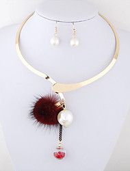 cheap -Women's Jewelry Set - Pearl Personalized, European Include Necklace / Earrings Brown / Red / Blue For Wedding Party Work / Glass